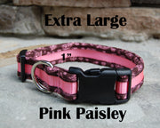X-Large Boutique Dog Collars | Pink Paisley