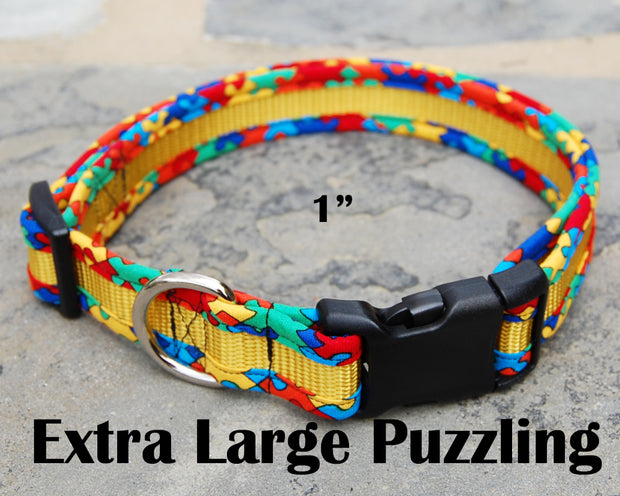 X-Large Puzzle Dog Collar | Autism Awareness | Stitchpet