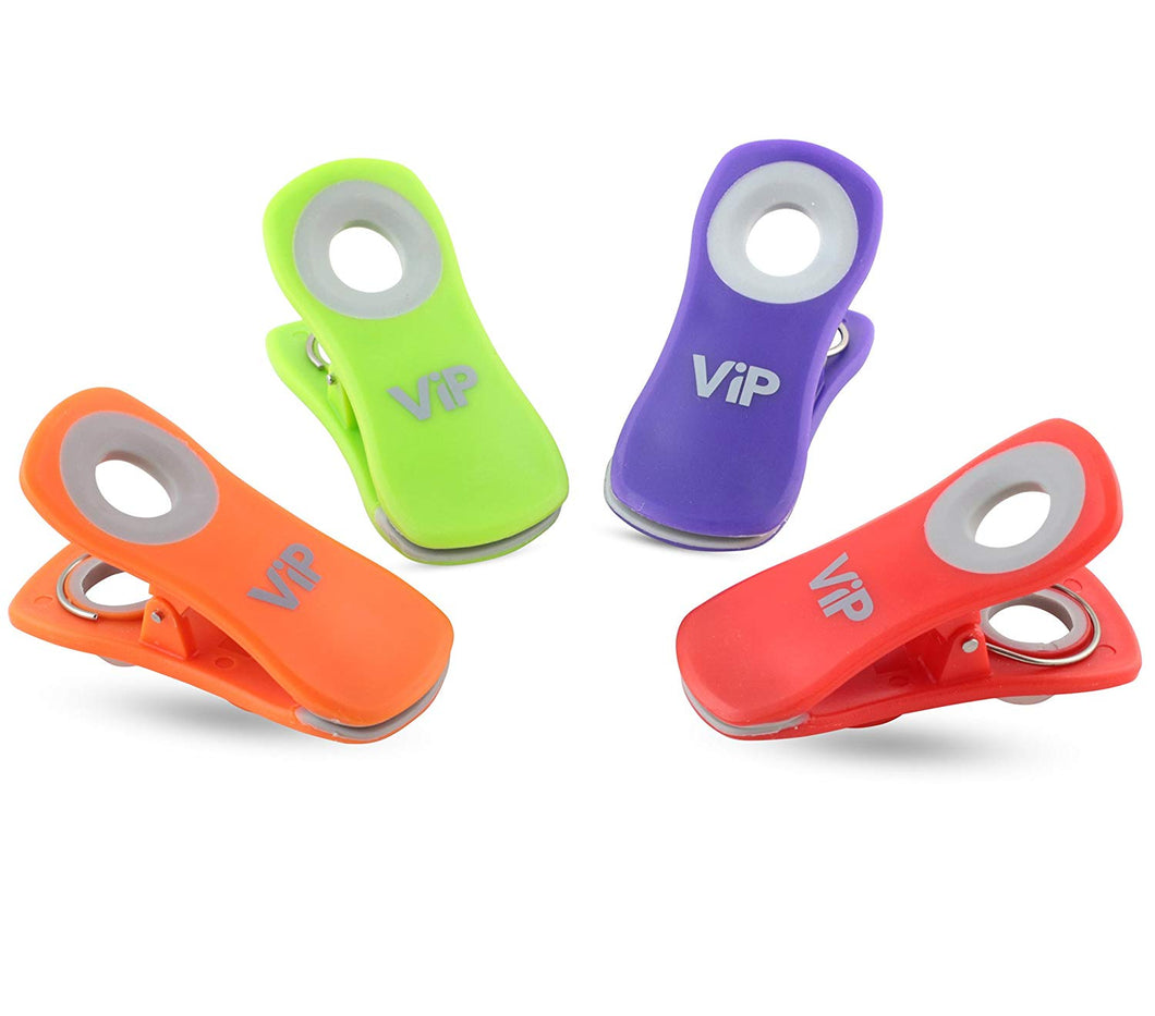 VIP Home Essentials - Comfort Grip Clips with Strong Neodymium Magnet - All Purpose Clips - Food Bags, Chip Bag Clips, Home Kitchen and Office Use - Set of 4