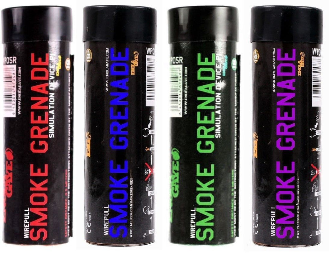 ENOLA GAYE Smoke Simulators WP40 Smoke Photography / Gender Reveal / Airsoft / Paintball - 1 BLUE, 1 RED, 1 PURPLE, 1 GREEN - 4 Pack