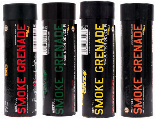 ENOLA GAYE Smoke Grenade WP40 Smoke Photography / Gender Reveal / Airsoft / Paintball - 1 RED, 1 YELLOW, 1 GREEN, 1 ORANGE - 4 Pack