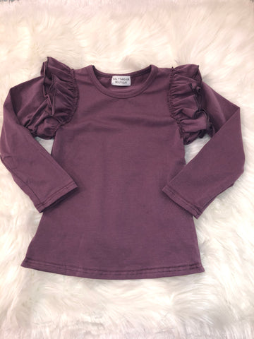 Solid Amethyst Long Sleeve Flutter Top - Salt Threads