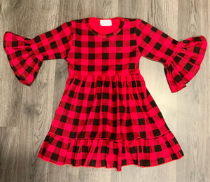 Red Buffalo Plaid Bell Sleeve Tunic