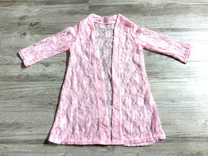 Pink Lace Long Sleeve Cardigan