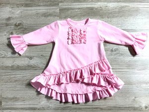 Solid Pink Bell Sleeve Ruffle Tunic