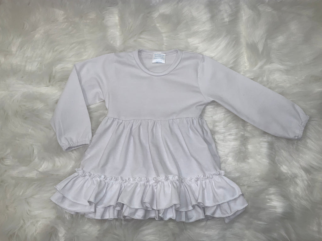 White Long Elastic Sleeve Ruffle Tunic Last One Size 8