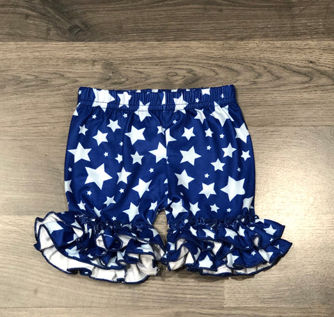 Star Print Double Ruffle Shorts