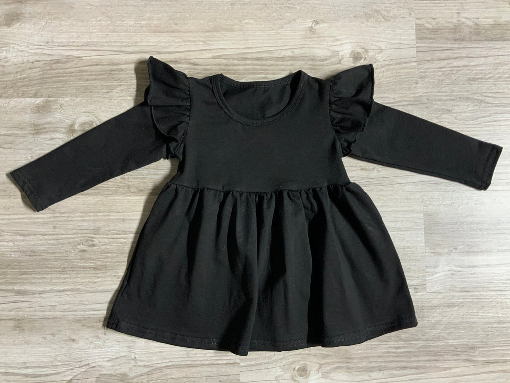 Solid Black Flutter Tunic