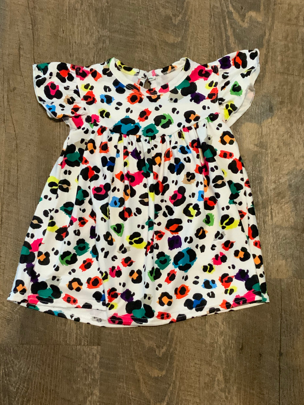 Colorful Leopard Button Back Pearl Tunic Length