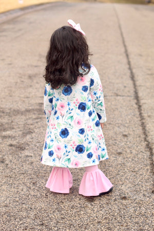 Navy Blossoms Kids Duster