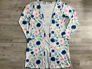 Navy Blossoms Long Sleeve Duster Adult