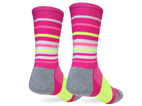 Hyper Stripe Crew (Neon Pink & Yellow Single Pair)