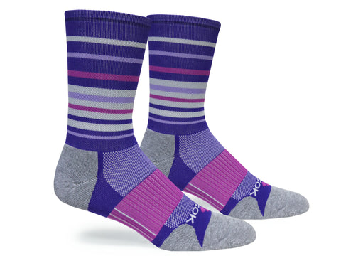 Hyper Stripe Crew (Purple & Berry Single Pair)
