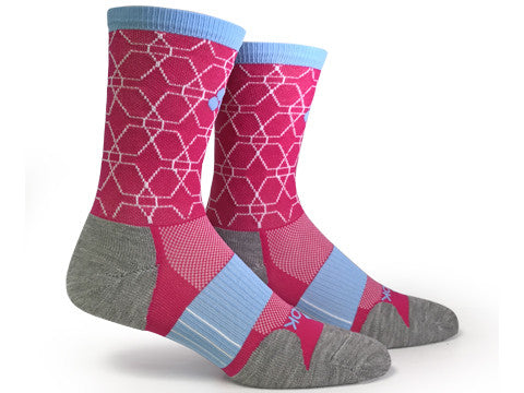 LOVE RUN Wool Crew (Pink & White Single Pair) - Fitsok.com