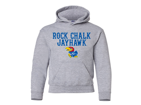 Youth Rock Chalk Jayhawk Hoodie Grey