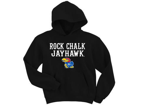 Rock Chalk Jayhawk Front Hood - Black