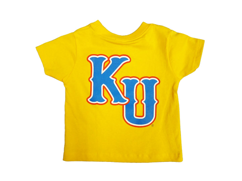 Rock Chalk Arch KU Back Toddler Tee - Gold
