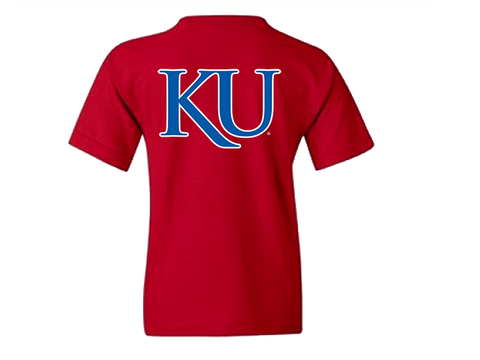 Youth Rock Chalk w/ KU Back SS Tee Red