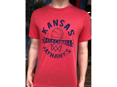 Kansas Basketball Net Triblend Tee - Hthr Red