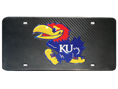 Jayhawk Logo Carbon Fiber License Plate - Black/Color