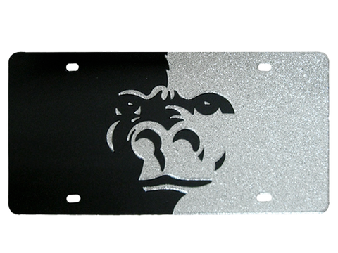 Gorilla Split Face Glitter License Plate - Black/Silver