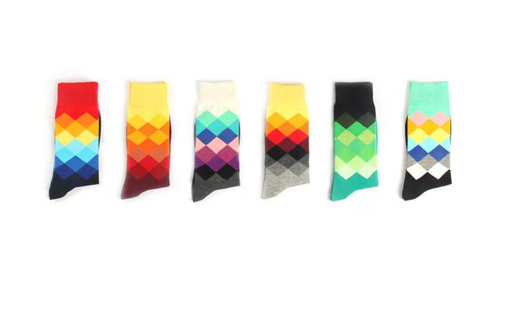 5 Pairs Lot Colorful Cotton Dress Socks.