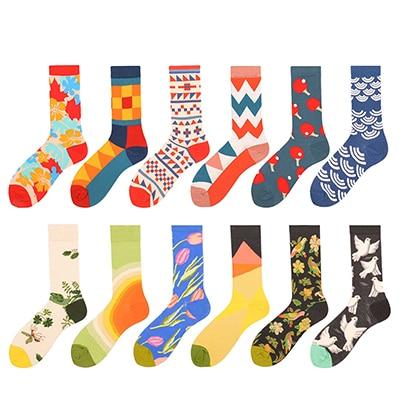 12 Pairs Of Playful Dress Socks, Multi Color 12 Pair Lot