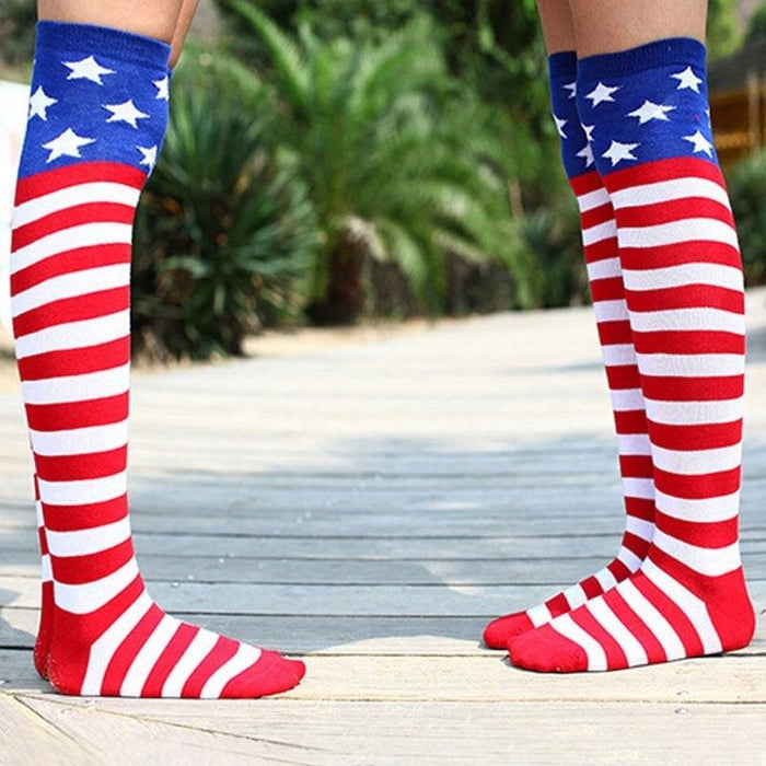 US Flag Novelty Over The Knee Sock