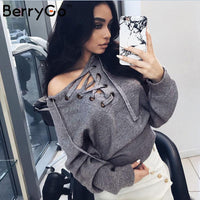 Women's Sweater - pullover Lace up sweater Casual top knitwear jumper - ArtOfExpo
