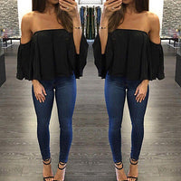 Female T-shirt - New Arrival  Fashion Women's Ladies Lace Off-shoulder Casual Tops - ArtOfExpo