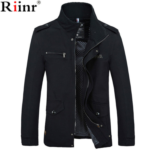 Men's Jackets - Riinr Male Jacket Slim Fit High Quality Zipper Warm - ArtOfExpo