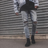 Men's Jeans - new jogger denim skinny destroyed ripped distressed - ArtOfExpo