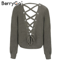 Women's Sweater - lace up knitting pullover Casual jumper pull - ArtOfExpo