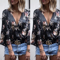 Women's Blouses - Ladies Long Sleeve Loose V Neck Casual Tops - ArtOfExpo