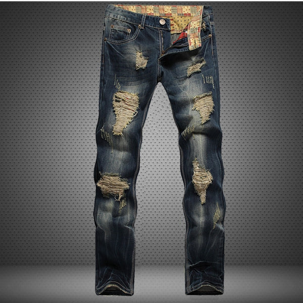 Men's Jeans - Hole Metrosexual Straight Destroyed Slim Ripped Retro Denim - ArtOfExpo