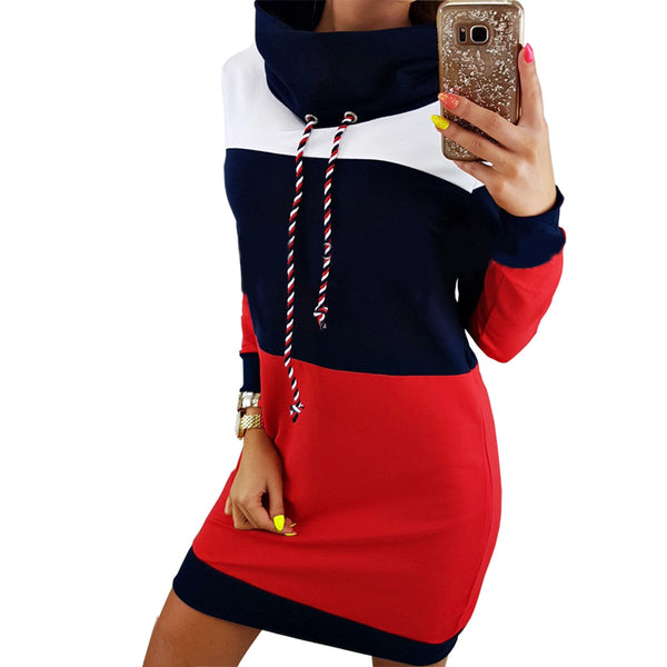 Women's Dress - Turtleneck Long Sleeve Hooded Sweatshirt Dress - ArtOfExpo