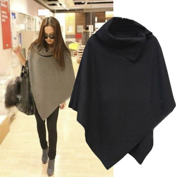 Women's Sweater - Coat Poncho Casual Zipper Loose Pullover Cloak - ArtOfExpo