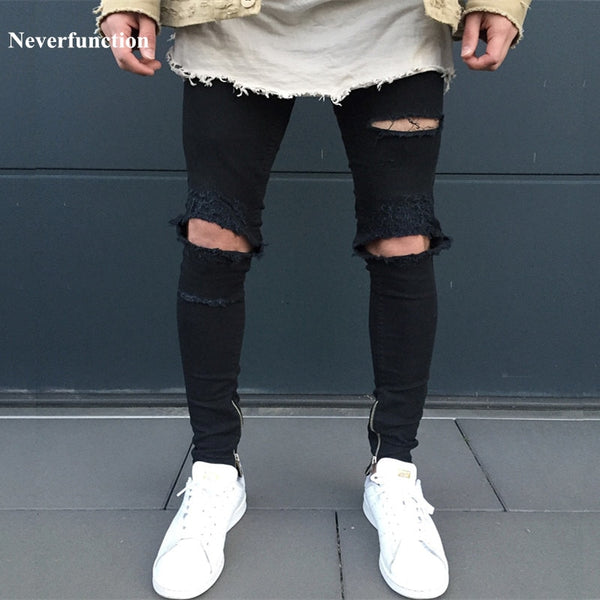 Men's Jeans - Ripped Jeans With Holes Super Skinny Slim Fit Destroyed - ArtOfExpo
