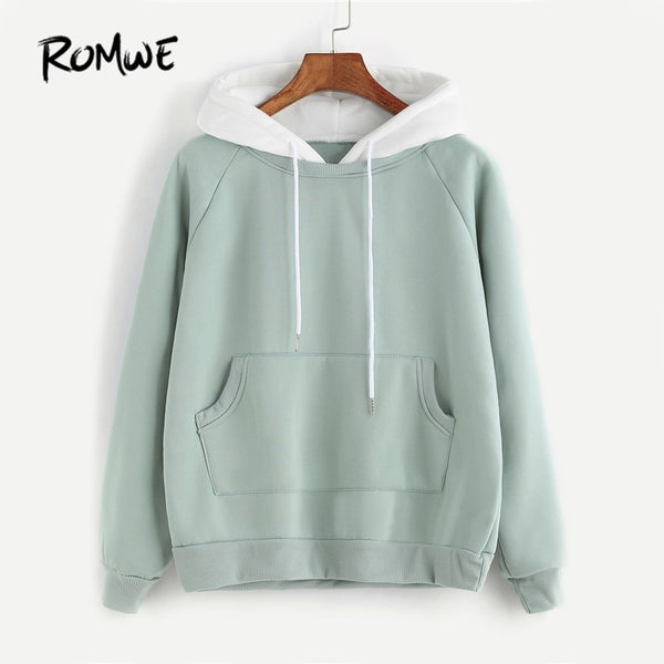 Women's Sweatshirt -Patchwork Hoodie Raglan Long Sleeve Cute - ArtOfExpo