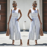 Women's Jumpsuit - Sleeveless Striped  Casual Wide Leg Elegant Pants Outfit - ArtOfExpo