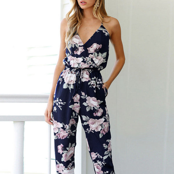 Women's Jumpsuit -  Clubwear Loose Playsuit Bodycon Floral Romper - ArtOfExpo