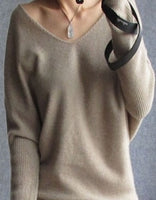 Cashmere sweaters women - fashion v-neck sweater 100% wool sweater pullover - ArtOfExpo