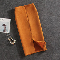 Women Skirts - Female Autumn Winter Suede Split Thick Stretchy Skirt - ArtOfExpo