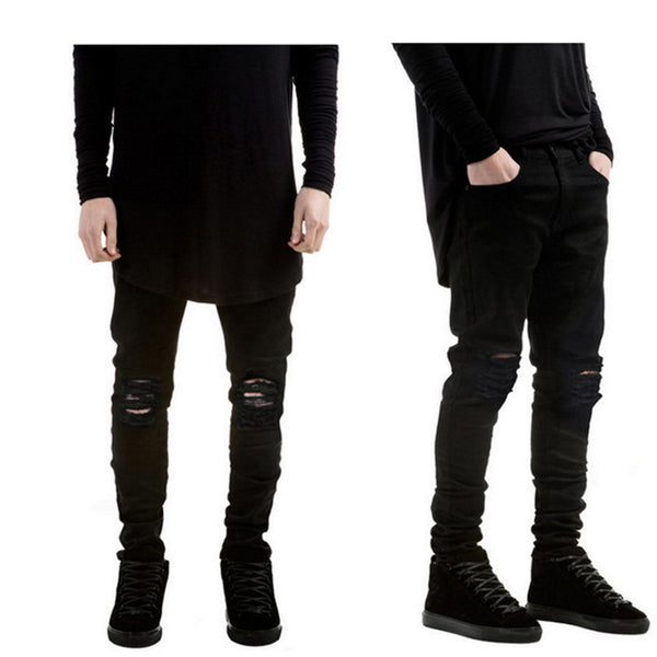 Men's Jeans - Black Ripped Jeans Super Skinny Slim Fit - ArtOfExpo