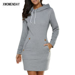 Women's Dress -  Short Dress Long Sleeve Hooded Pockets - ArtOfExpo