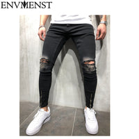 Men's Jeans - Ripped Jeans With Holes Denim Super Skinny Slim Fit - ArtOfExpo