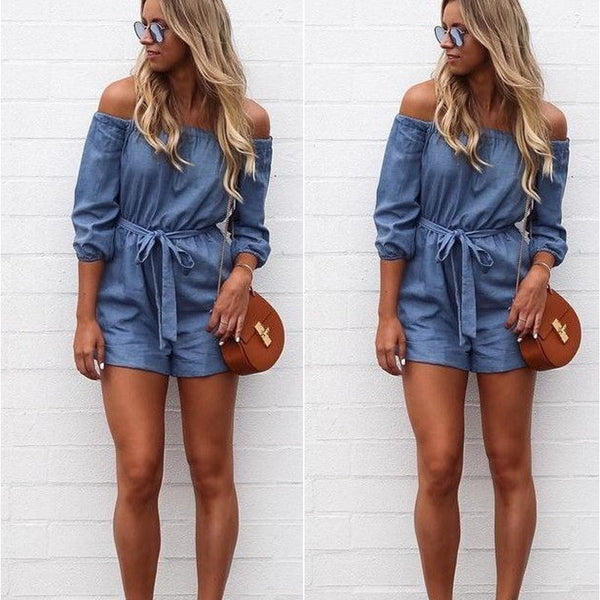 Women's Jumpsuit -  Shorts Short Casual  Jumpsuits Coverall  Denim - ArtOfExpo