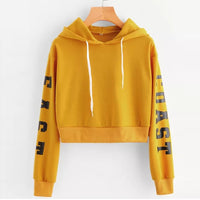 Female Cropped - Hoody Sweatshirts Long Sleeve Crop Pullover Top Blouse - ArtOfExpo