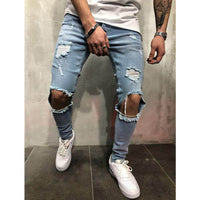 Men's Jeans - Ripped Jeans Holes Super Skinny Slim Fit Destroyed - ArtOfExpo