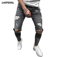 Men's Jeans - LASPERAL Ripped Slim Fit Knee Holes Distressed Denim Skinny - ArtOfExpo